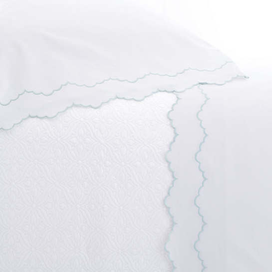 Isabella White/Pearl Blue Pillowcases
