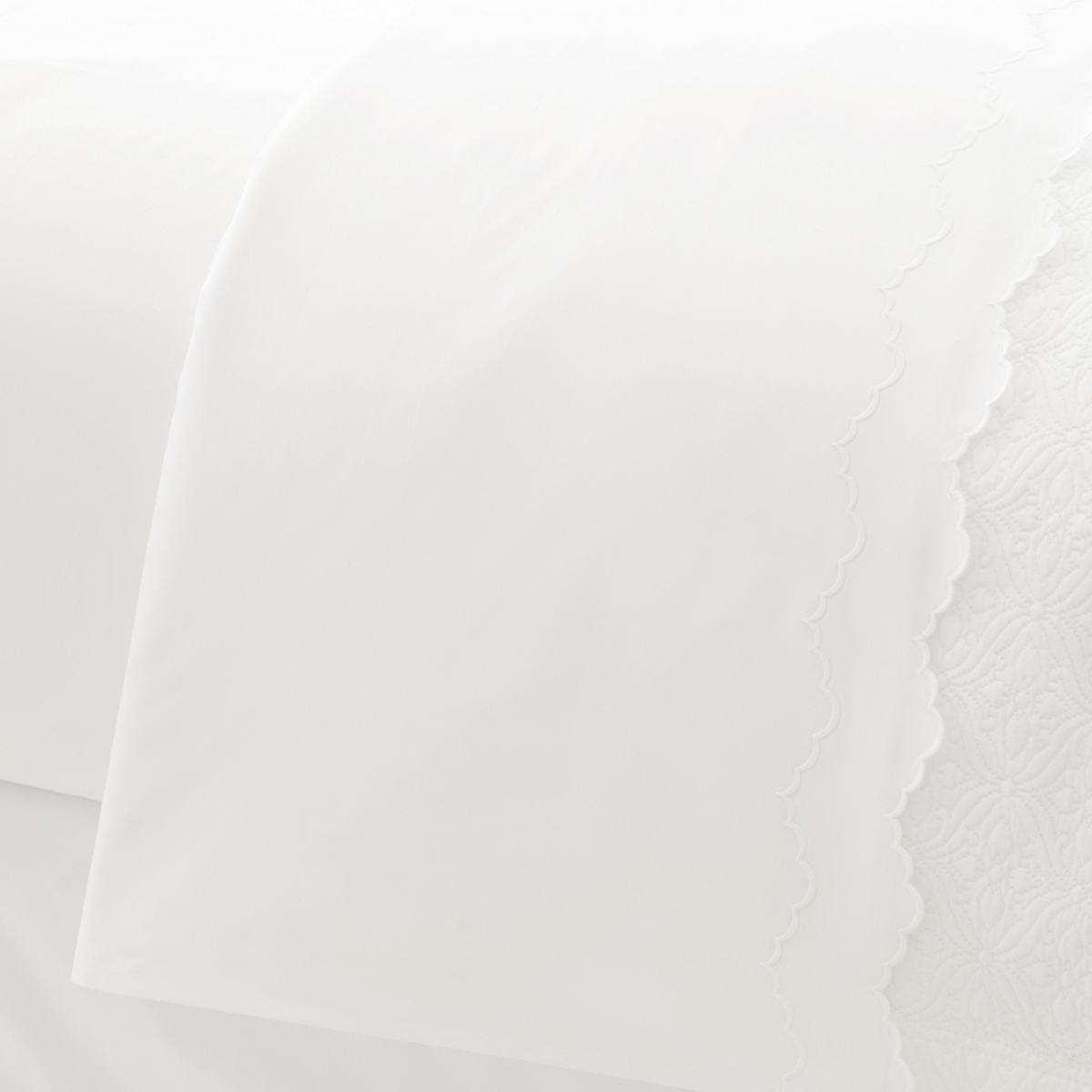 Isabella White/White Flat Sheet