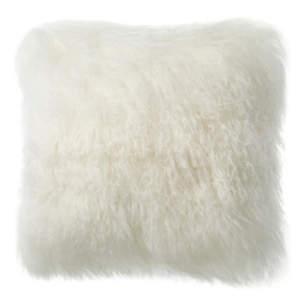 Longwool TIbetan Sheepskin Ivory Decorative Pillow