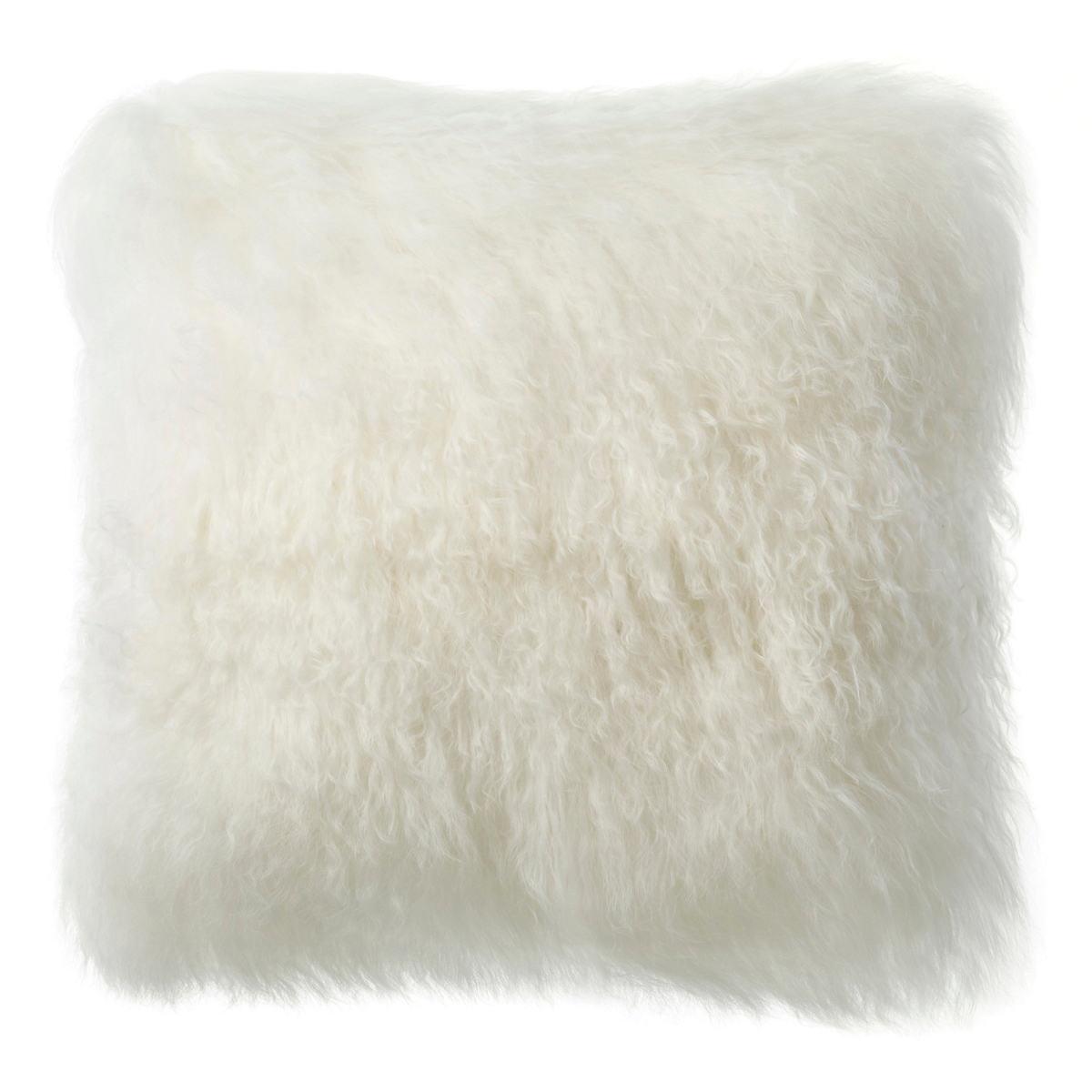 Ivory Longwool Tibetan Sheepskin Decorative Pillow