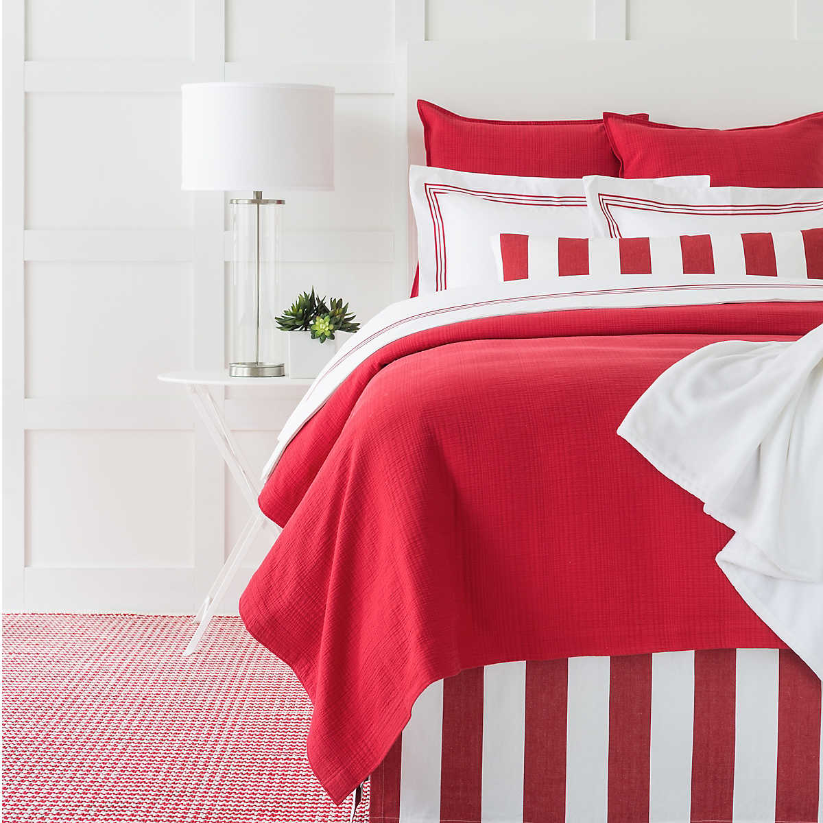 Kelly Red Matelass 233 Coverlet Pine Cone Hill