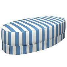 Alex French Blue Kendall Box Pleat Ottoman