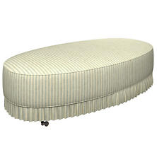 Adams Ticking Light Blue Kendall Mini Pleat Ottoman