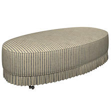 Adams Ticking Navy Kendall Mini Pleat Ottoman