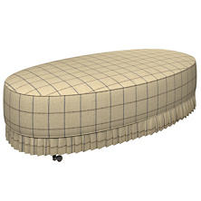 Chatham Tattersall Navy/Brown Kendall Mini Pleat Ottoman
