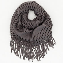 Knit Fringe Charcoal Infinity Scarf