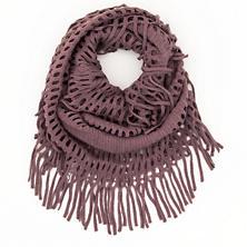 Knit Fringe Plum Infinity Scarf