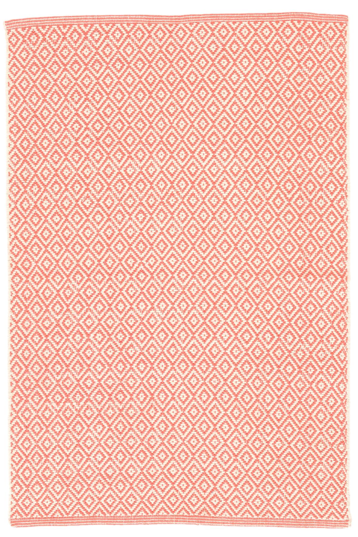 Lattice Coral Woven Cotton Rug