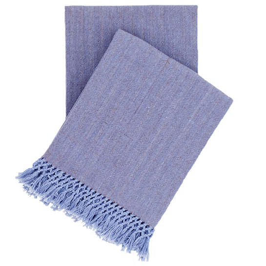 Laundered Cotton Storm Blue Throw