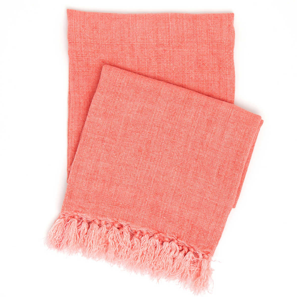 Laundered Linen Coral Throw Pine Cone Hill