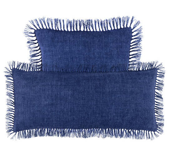 Laundered Linen Indigo Decorative Pillow