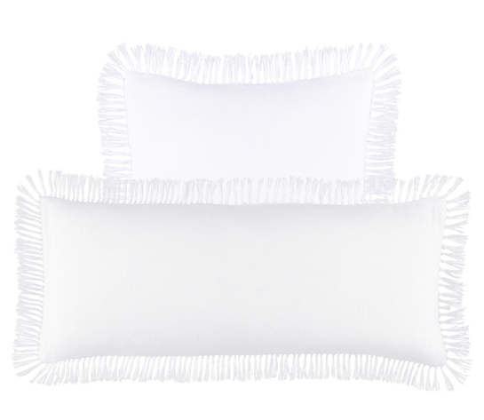 Laundered Linen White Decorative Pillow