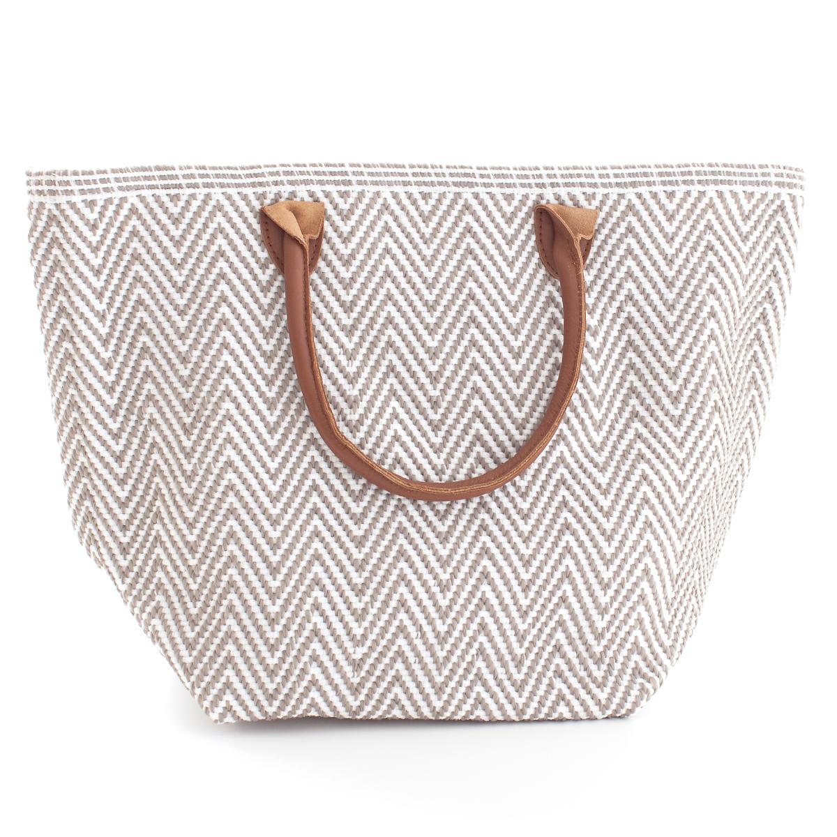 Le Tote Fieldstone/White Tote Bag Moyen