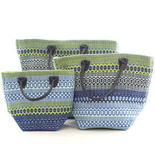 Le Tote Fiesta Stripe French Blue/Green Tote Bag