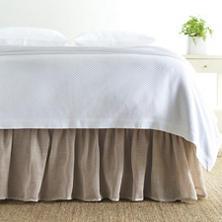 Linen Mesh Natural Natural Bed Skirt