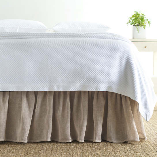 Linen Mesh Natural Natural Bed Skirt