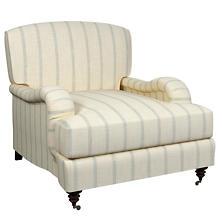 Glendale Stripe Light Blue/Natural Litchfield Chair