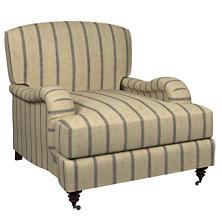 Glendale Stripe Navy/Brown Litchfield Chair