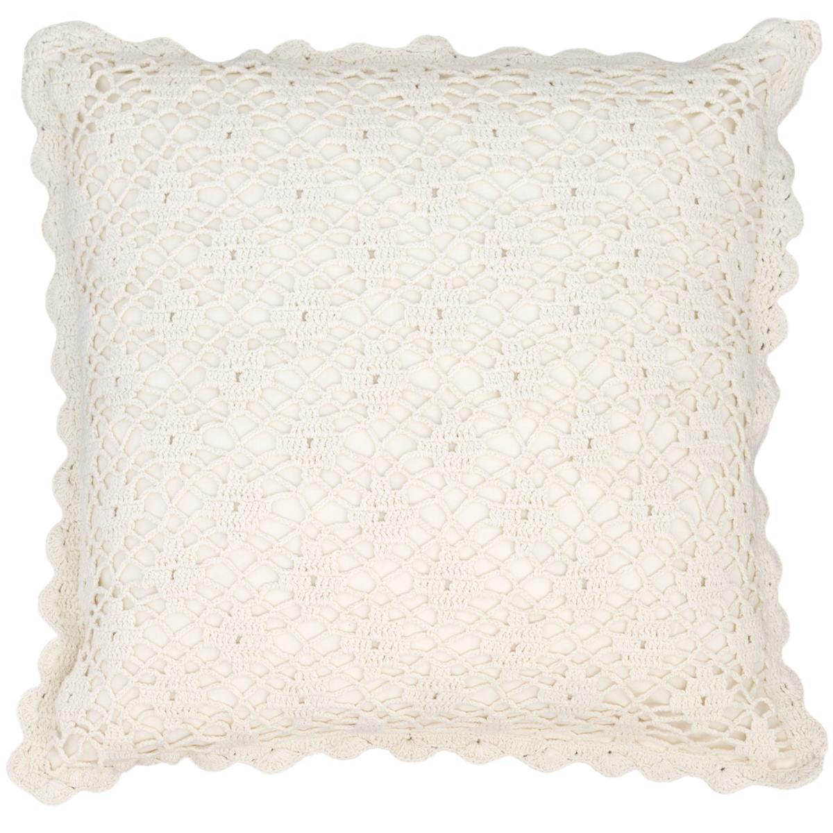 Lorient Crochet Ivory Decorative Pillow