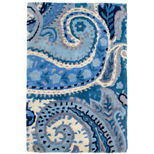 Lyric Paisley Blue Wool Tufted Rug