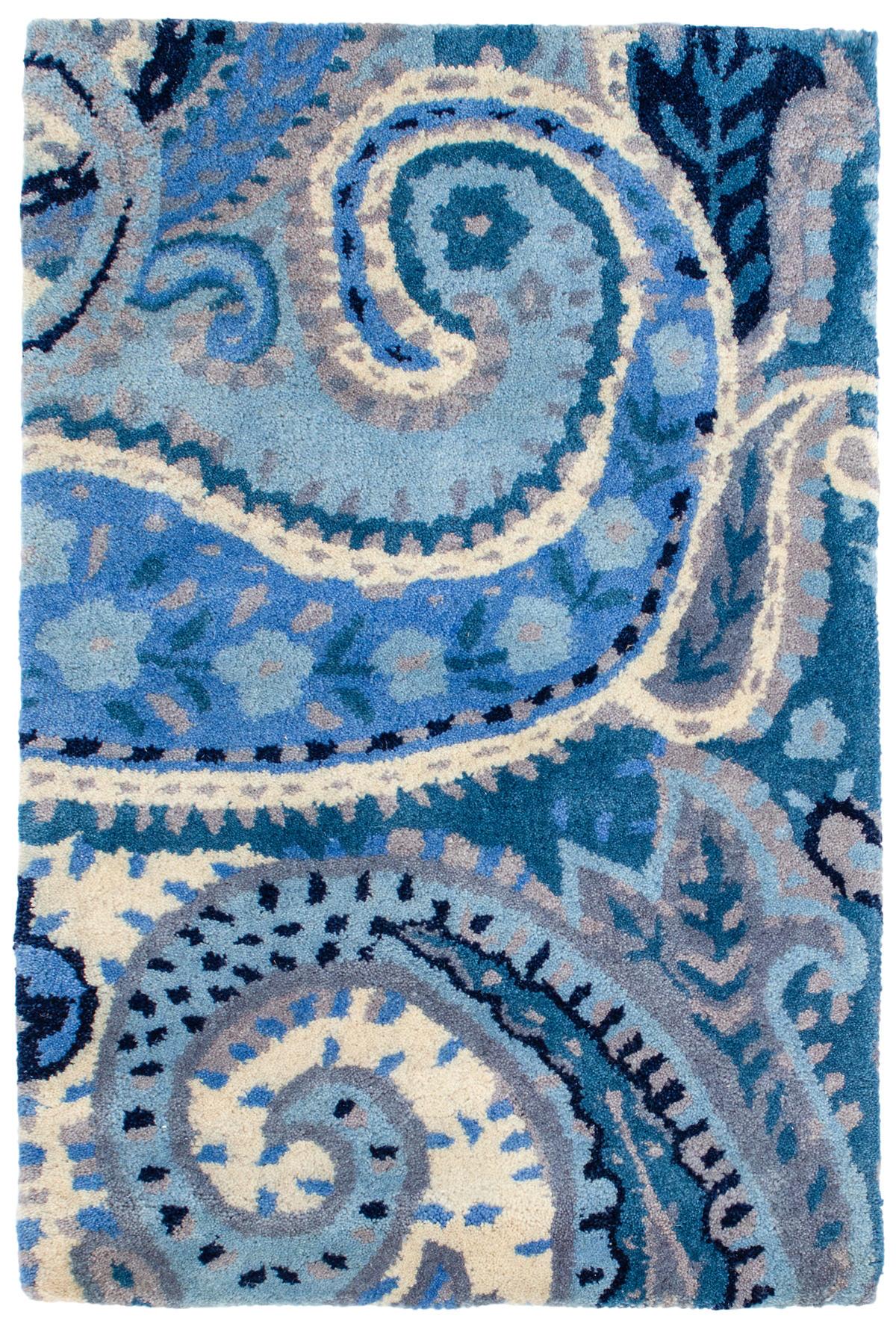 Lyric Paisley Blue Wool Tufted Rug