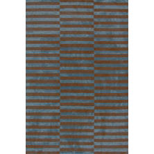 Marled Ladder Blue/Brown Hand Knotted Rug