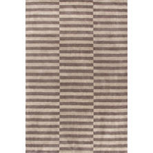 Marled Ladder Ivory/Grey Hand Knotted Rug