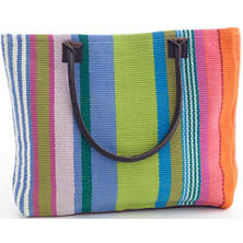Mellie Stripe Woven Cotton Tote Bag