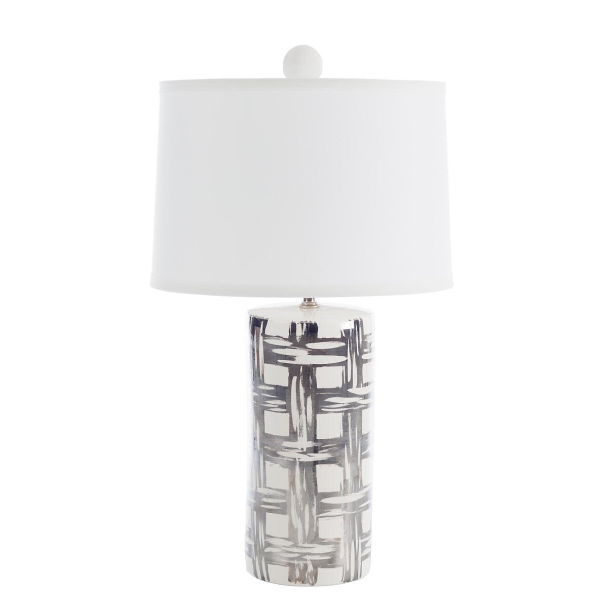 Metallic Pewter Rattan Medium Cylinder Lamp
