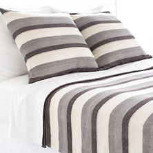 Montego Stripe Grey Chenille Blanket