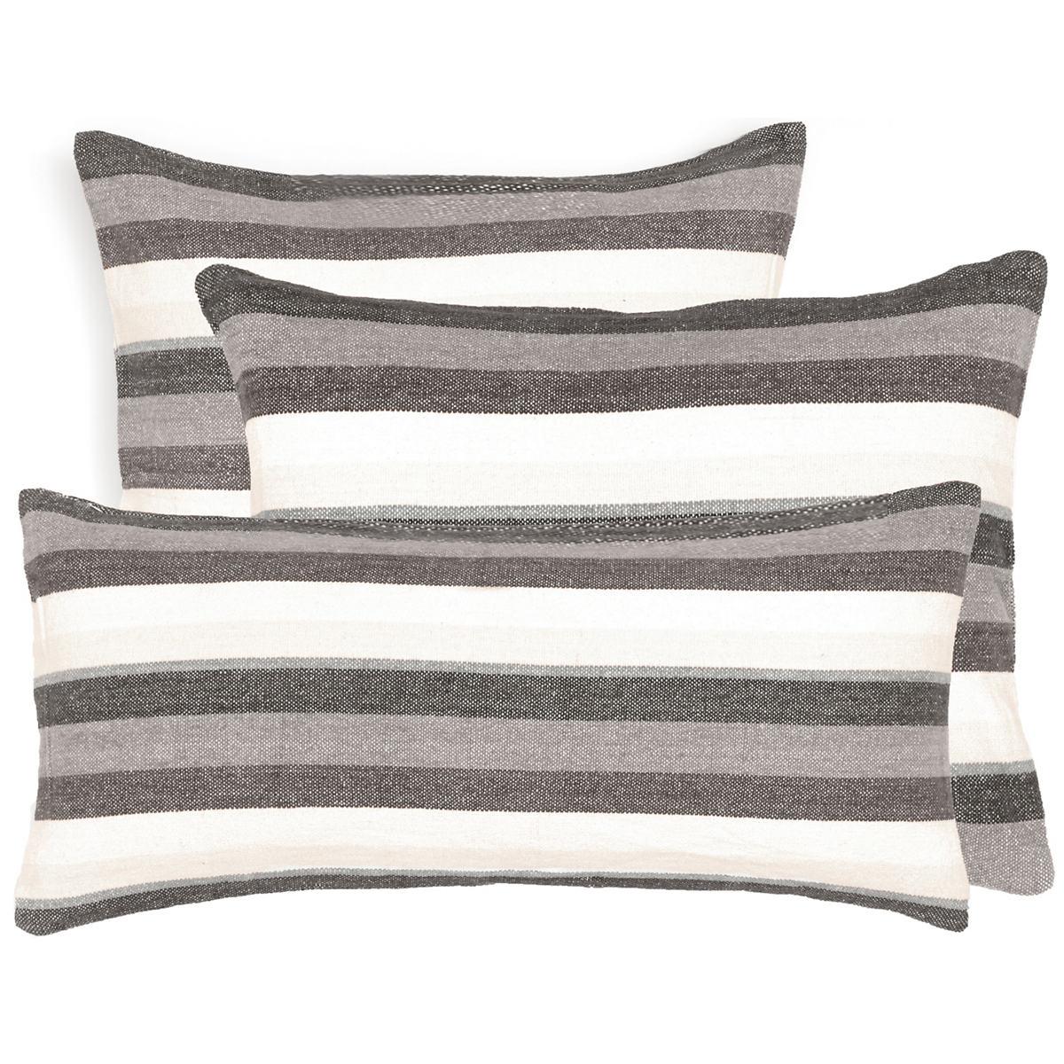 Montego Stripe Grey Chenille Decorative Pillow