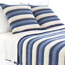 Montego Stripe Indigo Chenille Blanket