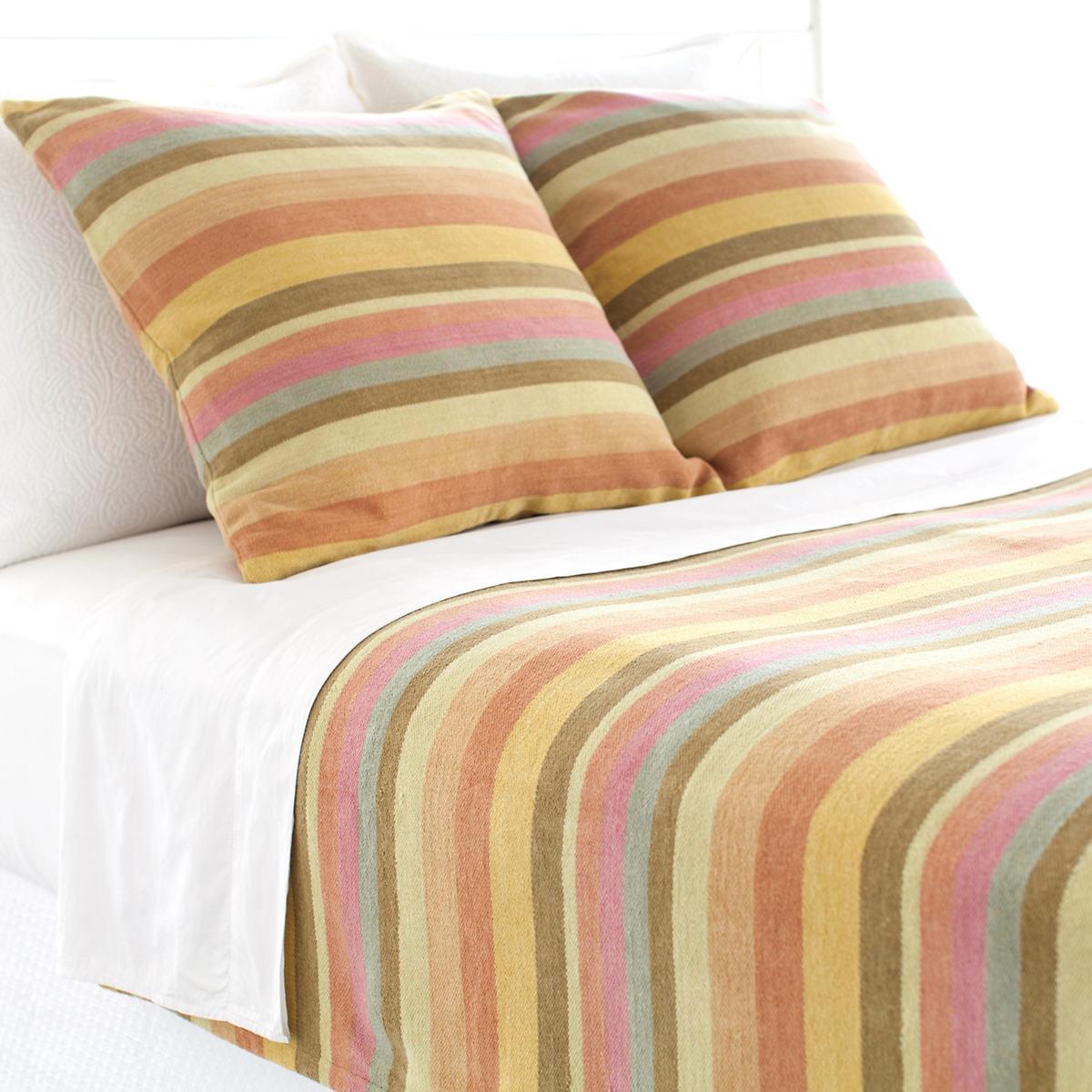 Montego Stripe Melon Chenille Blanket