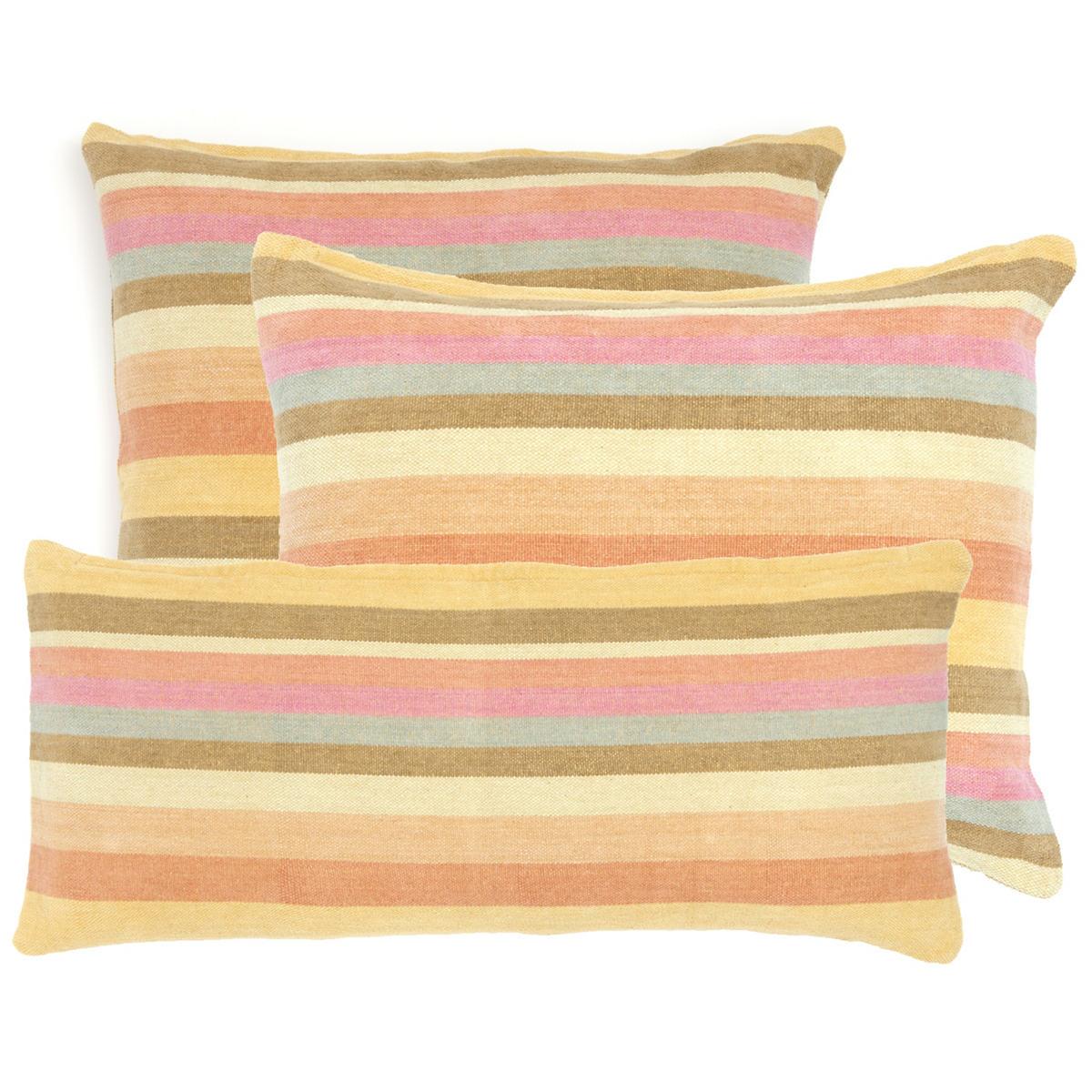 Montego Stripe Melon Chenille Decorative Pillow
