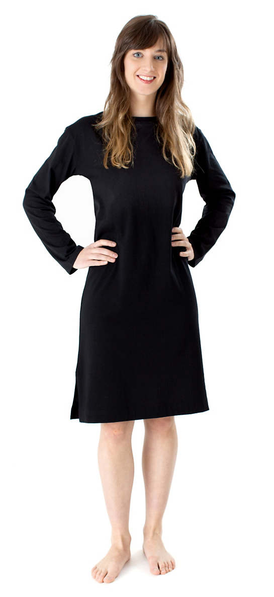 Ninda Black Crew Neck Nightdress