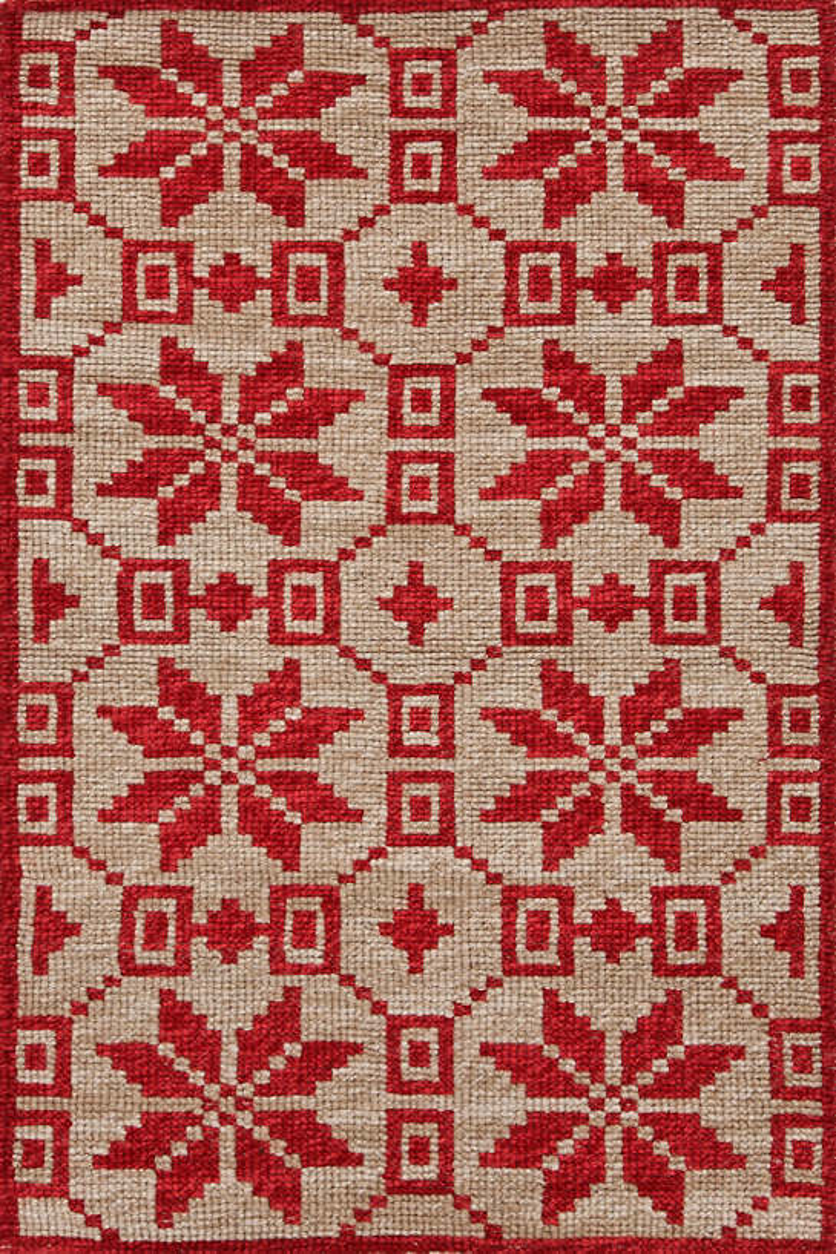 Nordic Star Crimson Wool Woven Rug