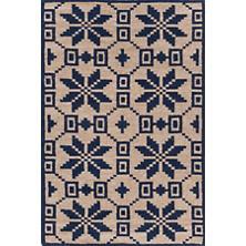 Nordic Star Indigo Wool Woven Rug