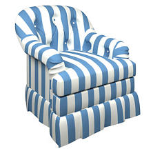 Alex French Blue Norfolk Skirted Chair