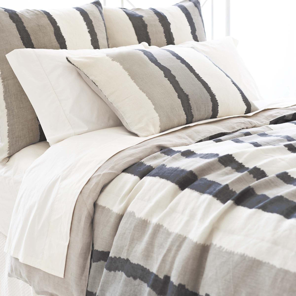 Painted Stripes Linen Grey Duvet Cover