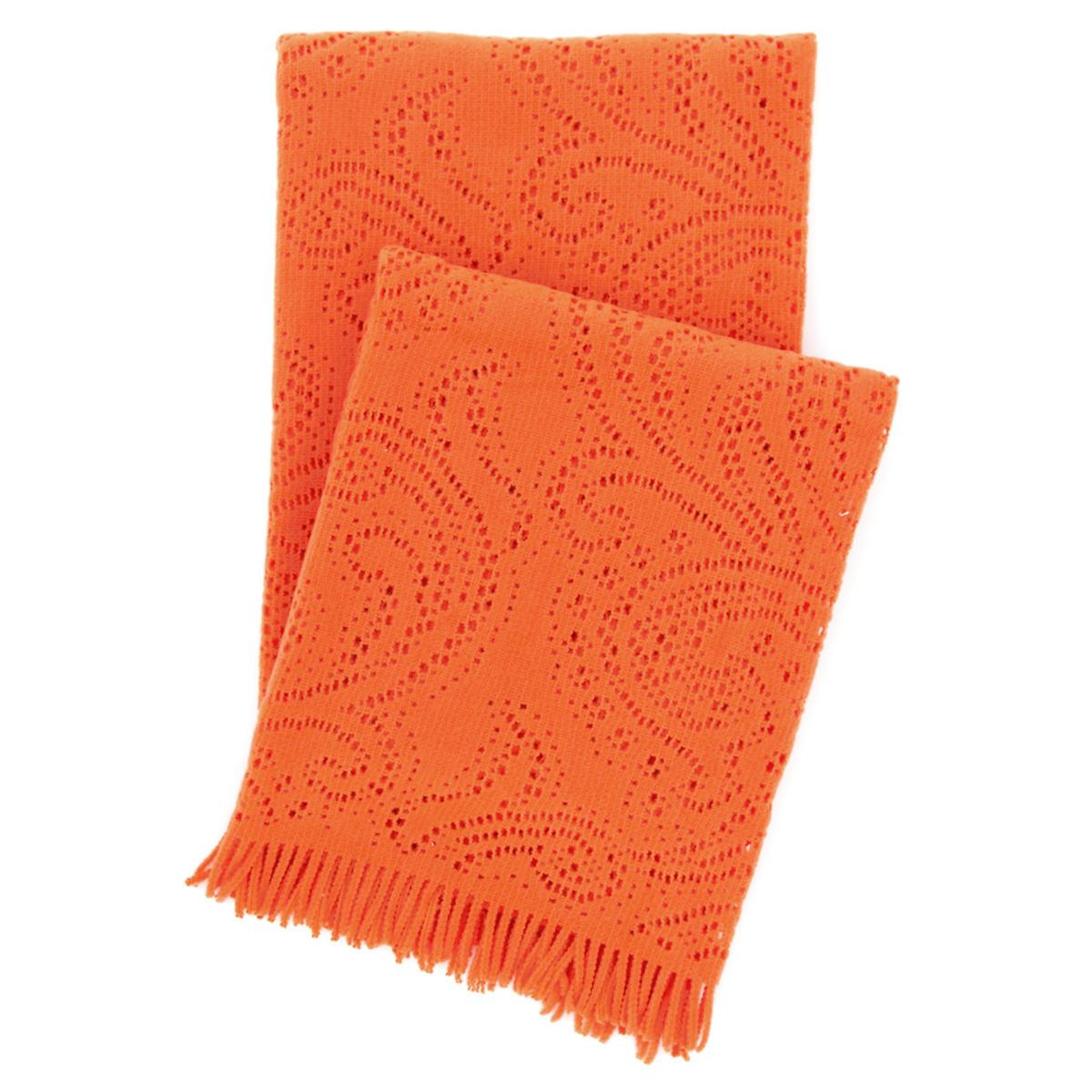 Paisley Lace Orange Throw