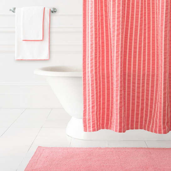 Parker Coral Shower Curtain The Outlet