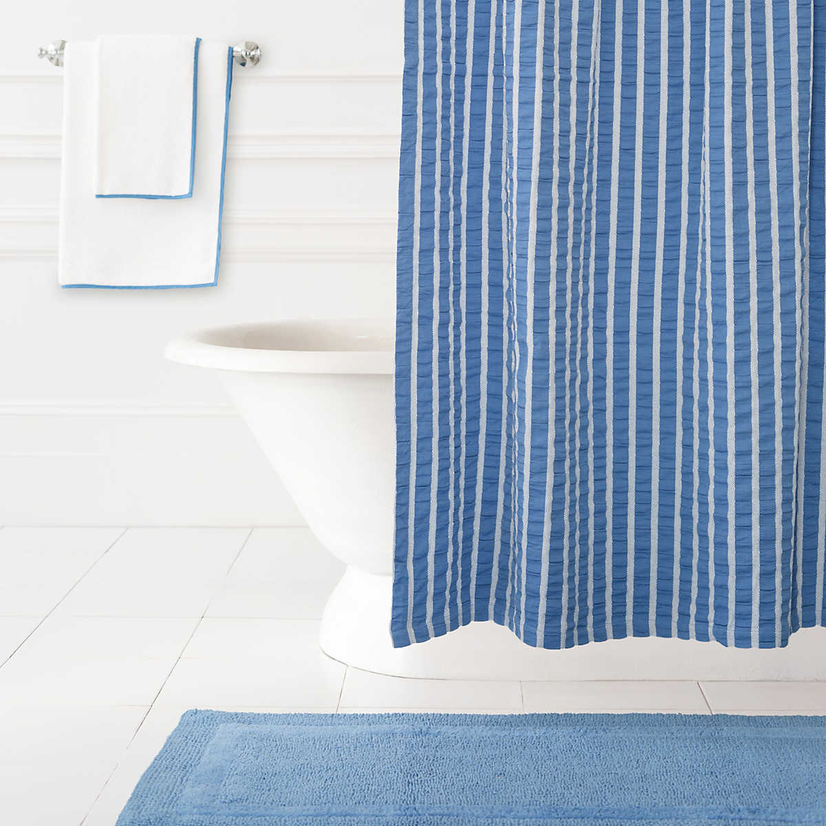 parker french blue shower curtain