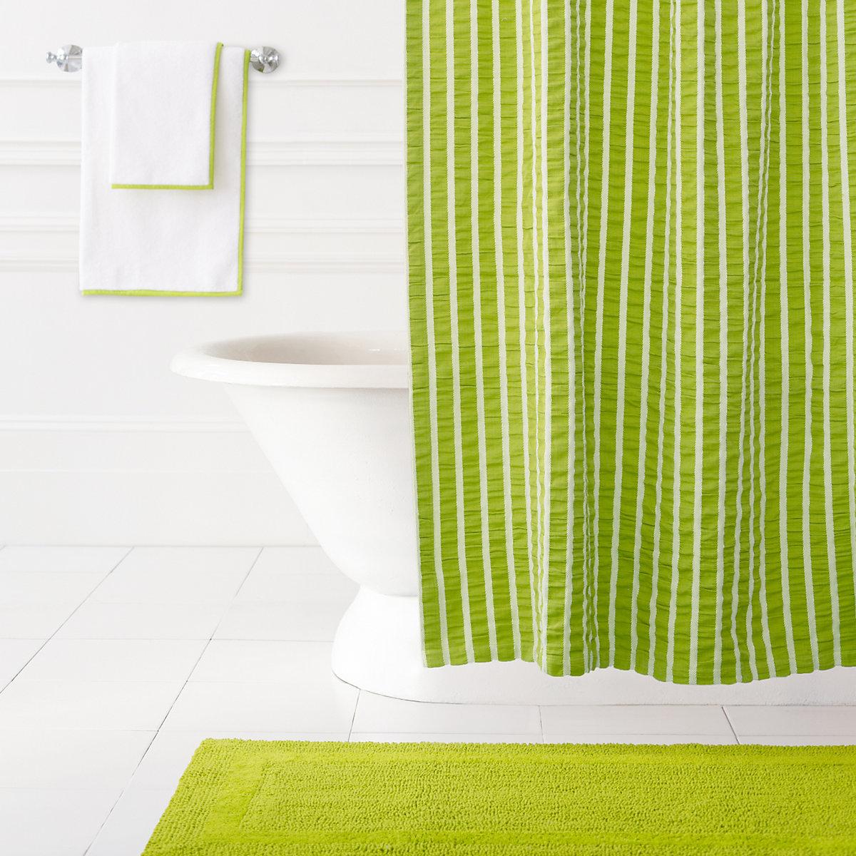 Yellow stripe shower curtain - Parker Green Shower Curtain