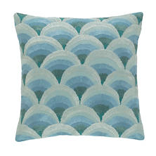 Peacock Embroidered Robin's Egg Blue Decorative Pillow