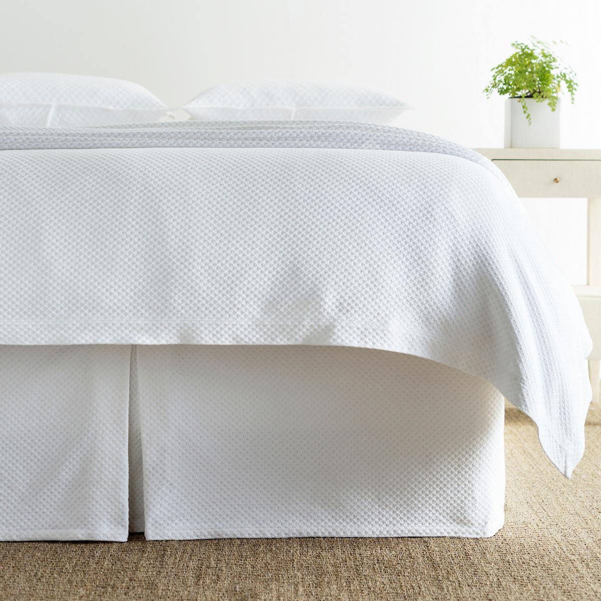 Petite Trellis White Matelassé Bed Skirt