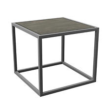 Pewter Powder Coat Stockbridge Grey Wash Wood Plank Side Table
