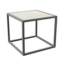 Pewter Powder Coat Stockbridge White Wash Wood Plank Side Table