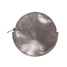 Pewter Metallic Round Leather Pouch