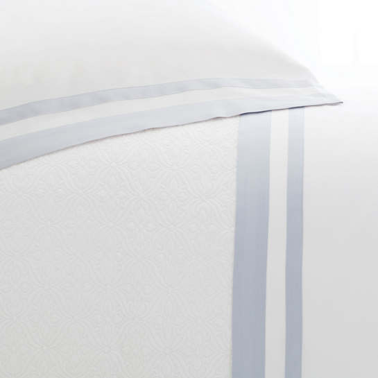 Piazza White/Delphinium Pillowcases