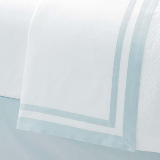 Piazza White/Pearl Blue Flat Sheet